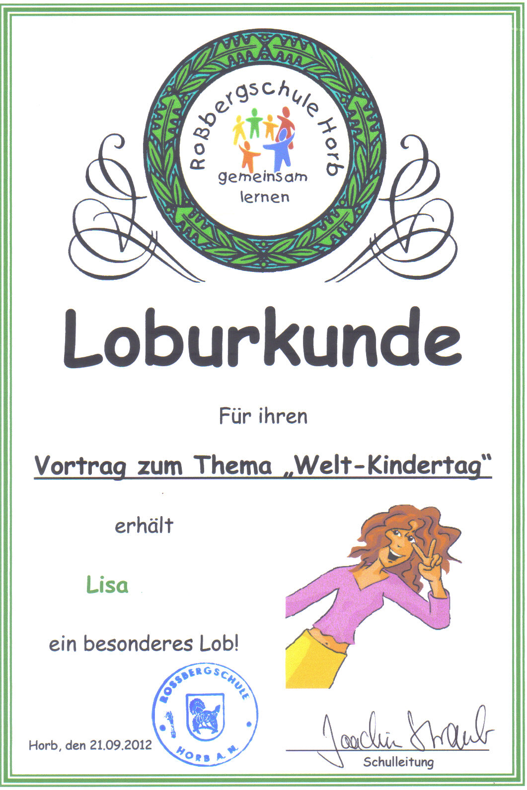 Loburkunde für Schülerin Lisa | Rock For Your Children